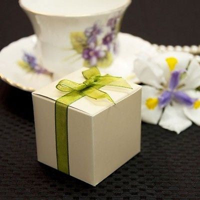 "10 Ivory Square Favor Boxes 2"" Gift Box"