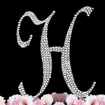Silver Letter Initial H Birthday Crystal Rhinestone Cake Topper H Party Monogram- Le Petit Pain