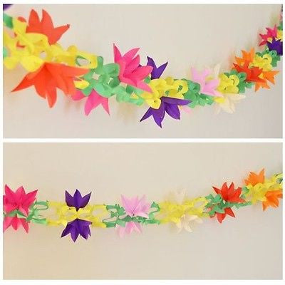 Fancy Multicolor Paper Garland 12 Ft long 3D Tulip Flowers- Le Petit Pain