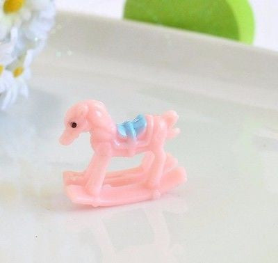 6 Mini Pink Baby Shower Rocking Horse Favors Cake Toppers Girl Gender Reveal
