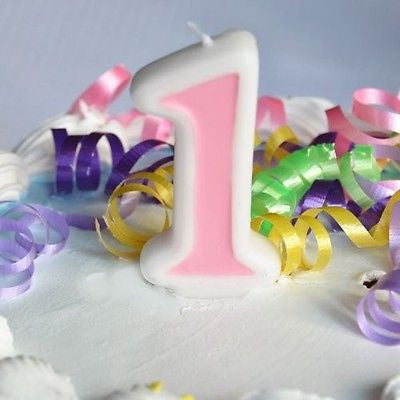Pink 1 Number Candle White Premium Birthday Candle- Le Petit Pain