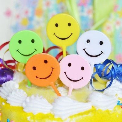 5 Retro Smiley Smile Happy Face Cake Picks Cupcake Topper Assorted Colors 90s - le petit pain