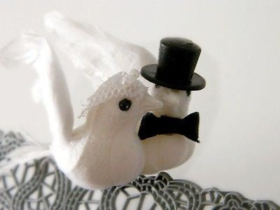 "Dove Couple w/ Veil Top Hat Tux Cake Topper 3"" Feathered Wings Tree Branch Bird"