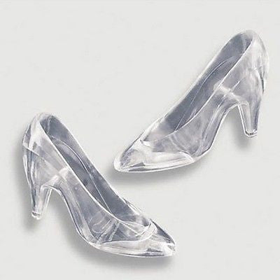 12 Clear Cinderella Glass Slippers Cake Topper Wedding Decoration Princess Party Birthday Baby Shower