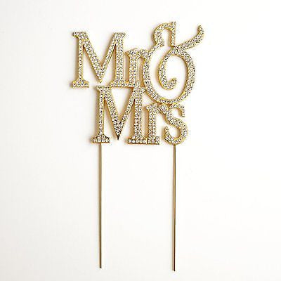 Mr and Mrs Gold Glitter White Crystal Wedding Bride and Groom Cake Topper- Le Petit Pain