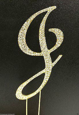 Gold Letter Initial J Birthday Crystal Rhinestone Cake Topper J Party Monogram- Le Petit Pain