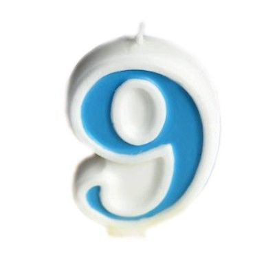 Blue Numeral 9 Number Candle White Premium Birthday Candle- Le Petit Pain