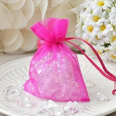 "10 Hot Pink Organza Favor Pouches 3""x4"" Wedding Baby Shower Party Gift Bags - le petit pain"