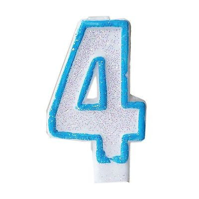 Blue Glitter Numeral 4 Number Candle White Premium Birthday Candle