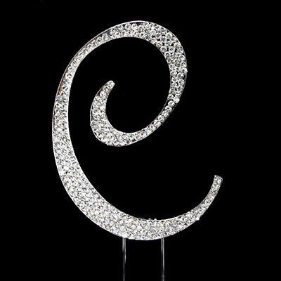Silver Letter Initial C Birthday Crystal Rhinestone Cake Topper C Party Monogram- Le Petit Pain