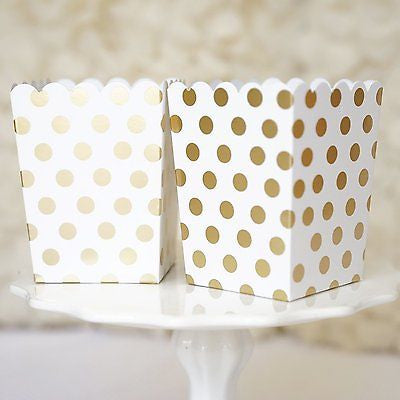 10 Gold and White Polka Dot Popcorn Favor Boxes Bridal Baby Shower to Pop Gold Foil - le petit pain