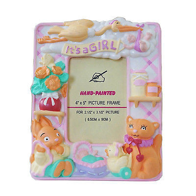 "Pink It's a Girl Picture Frame Baby Shower 2.5"" x 3.5"" Tabletop Frame"