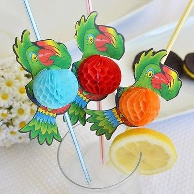 "8 Jumbo Multi Color Parrot Tropical Straw 3D Honeycomb 13.5"" - le petit pain"