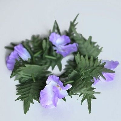 Premium Purple Flower Lei Festival Headband Boho Glad and Fern Crown