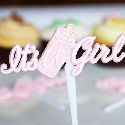 12 It's a Girl and Baby Bottle Cupcake Picks Cake Decoration Shower Pink