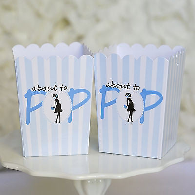 10 Blue About To Pop Baby Shower Boxes Favor Box Ready to Pop - Le Petit Pain
