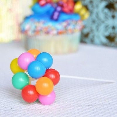 "8 Clusters Rainbow Balloons Pick 7"" Cake Topper 80x Up Balloons - le petit pain"