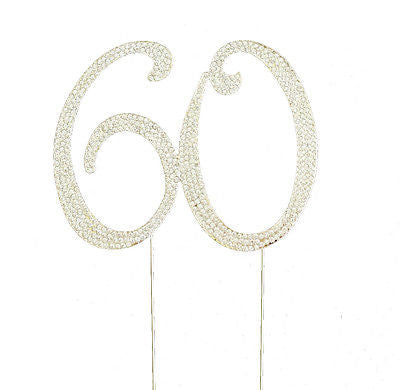 60th Birthday Crystal Rhinestone Cake Topper 60 Birthday Party Monogram - le petit pain