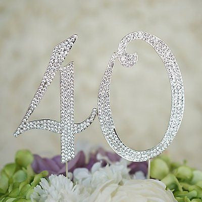 40th Birthday Crystal Rhinestone Cake Topper Anniversary Party Monogram - le petit pain