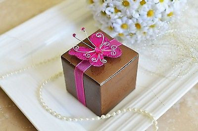 12 Rose Print Brown Favor Boxes with Magenta Gem Butterfly Ribbon