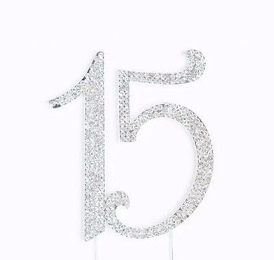 Sweet 15 Quinceanera Silver Crystal Rhinestone Cake Topper Birthday Party Favor- Le Petit Pain