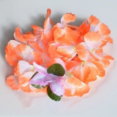 Premium Orange Hawaiian Crown Lei Headband Paradise Petunia with Orchids Boho- Le Petit Pain