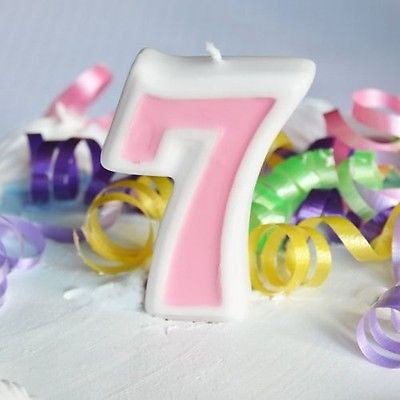 Pink 7 Number Candle White Premium Birthday Candle