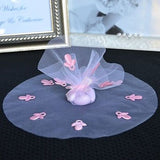 "10 Pink Round Tulle Gift Wrap with Pacifier 9"" Favor Bag Baby Shower - le petit pain"