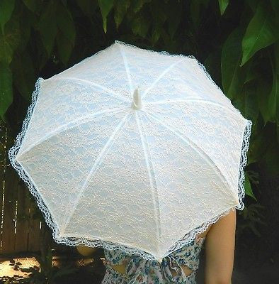 Vintage Style Peach Lace Small Wedding Parasol Umbrellas Country Chic Photo Prop- Le Petit Pain