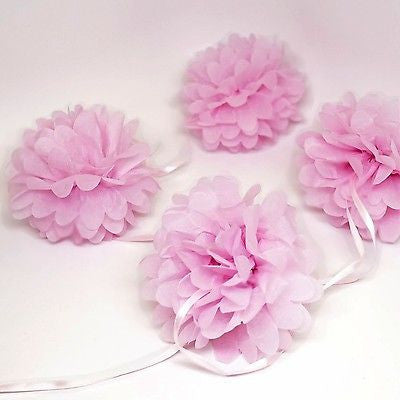 "9 Pink Pom Poms Garland 5"" Tissue Poms Garland 10 FT Banner, Wedding Photo Prop"