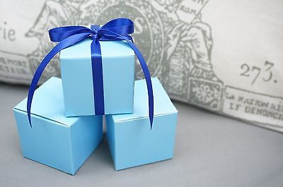 10 Baby Light Blue Square Favor Box Boxes, Jewelry Gift Box, Turquoise