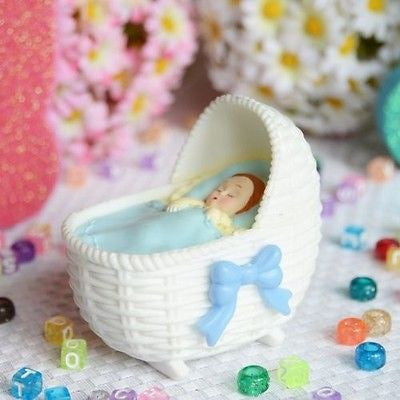 Blue Bassinet with Sleeping Baby Boy Favor Craft DIY Baby Shower Gender Reveal- Le Petit Pain