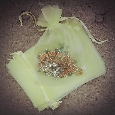 10 Large Lemon Mint Organza Favor Pouches Wedding Gift Bags Yellow Lime Green - le petit pain