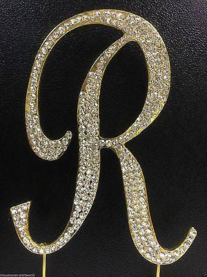 Gold Letter Initial R Birthday Crystal Rhinestone Cake Topper R Party Monogram- Le Petit Pain