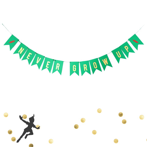Never Grow Up Birthday Banner Peter Pan Party Decoration Baby Birthday Gold Green Red Garland