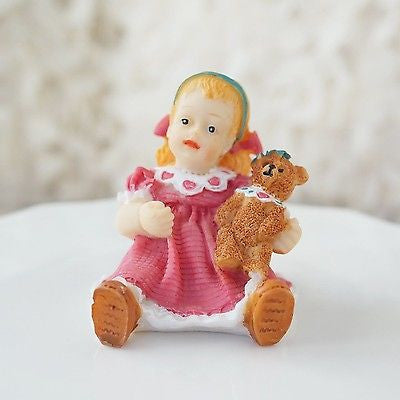 Vintage Baby Girl in This Pink with Teddy Bear Figurine Statue Classic Americana- Le Petit Pain