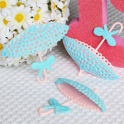 12 Light Blue & Pink Parasol Umbrella Lace Parasol Cupcake Birthday Cake Topper Wedding Baby Shower - le petit pain
