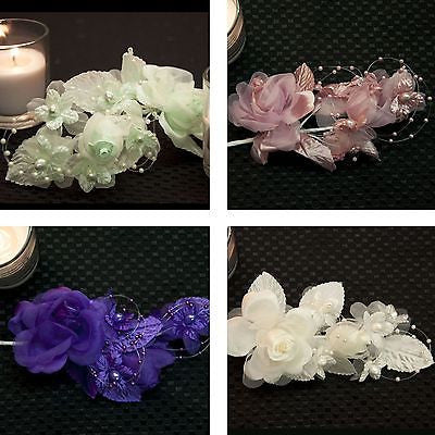 "Multi Colors Bridal Flower with Bead Loop Roses Pearls 5"" Wedding DIY Craft- Le Petit Pain"