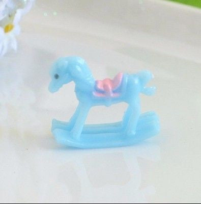 6 Mini Blue Baby Shower Rocking Horse Favors Cake Toppers Boy Gender Reveal - le petit pain