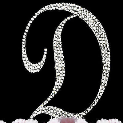 Silver Letter Initial D Birthday Crystal Rhinestone Cake Topper D Party Monogram- Le Petit Pain