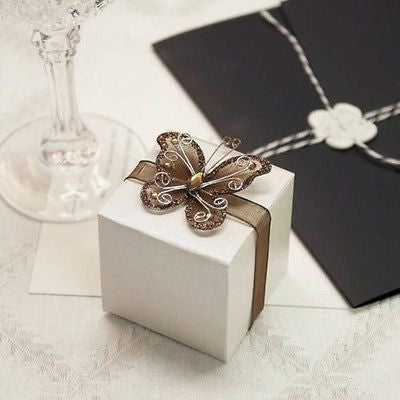 12 Rose Print Ivory White Favor Boxes with Brown Gem Butterfly Ribbon - le petit pain