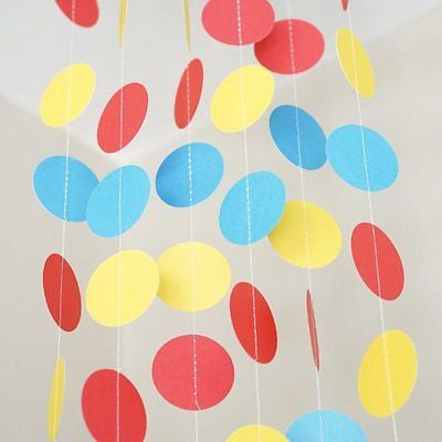 Red Yellow Blue Circle Polka Dot Garland 10 FT Banner Superhero Party Decor- Le Petit Pain