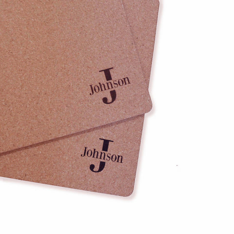 Custom Personalized Initials Name Monogram Dinner Place Mats Cork Set of 2