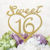 Sweet 16 Script Gold Glitter Acrylic Heart Cake Topper Monogram Decoration
