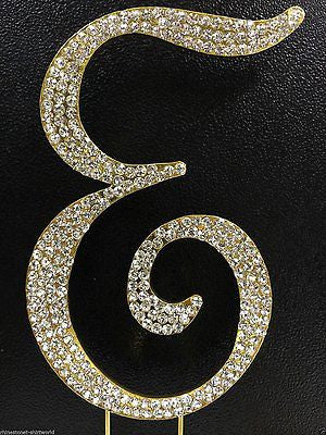 Gold Letter Initial E Birthday Crystal Rhinestone Cake Topper E Party Monogram- Le Petit Pain