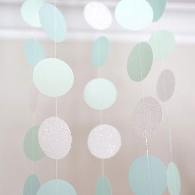 Pearl White Mint Green Blue Circle Dots Paper Garland 10 Ft Party Home Decor- Le Petit Pain