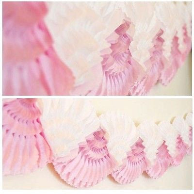Pink and White Double Fan Paper Garland 12 Ft Long