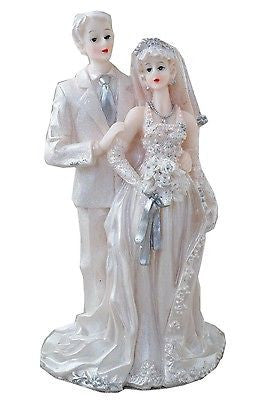 Vintage White Wedding Bride and Groom Cake Topper Silver & White w/ Veil