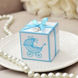 10 Blue Baby Carriage Favor Boxes with Thank You Baby Bib Charms & Ribbons - le petit pain