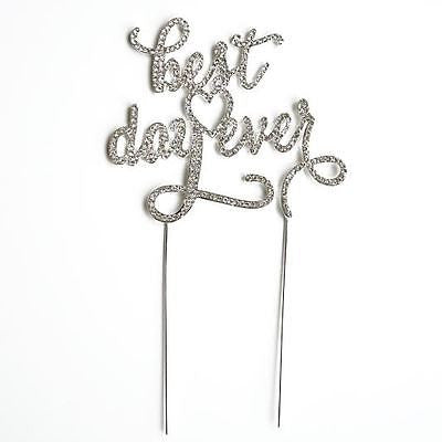Best Day Ever Script Crystal Rhinestone Wedding Cake Topper Silver Monogram